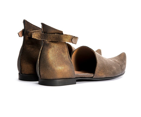 Shoes Chic Bronze shoes Casual Sale Summer up Shoes Pointy Una Flat Designers Smart shoes Black Laced Woman Leather Una 4aaZwvOqd