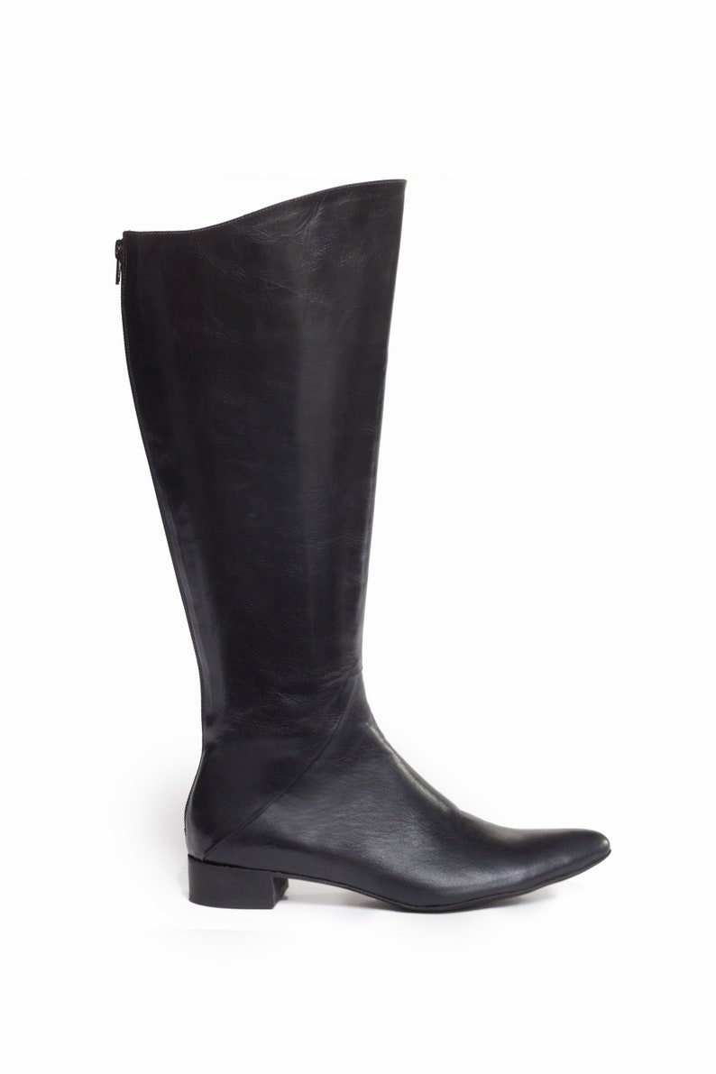 785183d8790 Leather Boots Women, Black leather boots, Pointed Tow Boots , Low heel  boots, Back Zipper Boots, Wide women's heels ,Riding Boots, Unauna