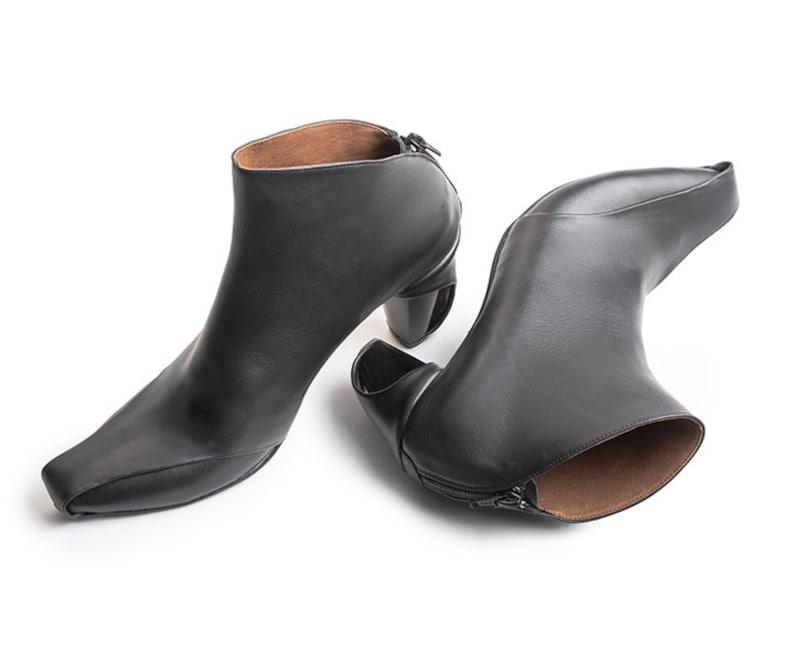 Heel Booties Black Booties Leather