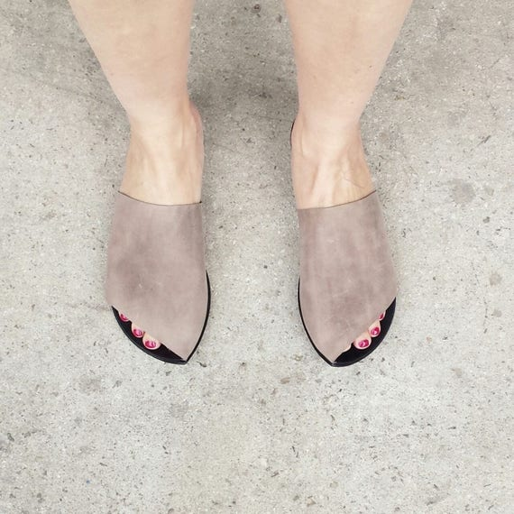 On woman Grey Black Black Una woman sandal Leather Slip shoes Una shoes Leather Sandal shoes Urban Style Sale Woman Summer Leather q5tYAdqx