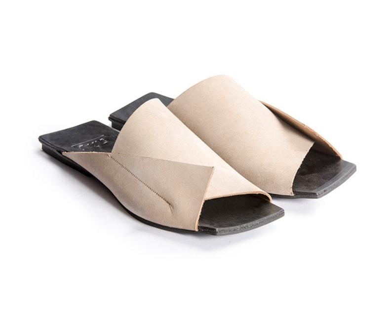 New, Flat Sandals, Slides, Mule, Light Leather Sandals, Handmade, Open Back Woman Shoes, Slip On, Flip Flops, UnaUna, Israel shoes, Israeli