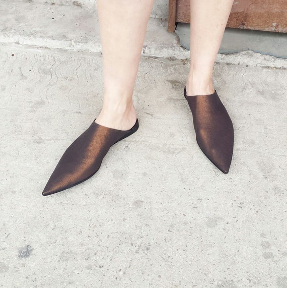 bout cuir noir Slip Babouches noir au dos cuir en A ouvertes marocain chaussures Boh pointu Style vendre mule On wFXwqIz