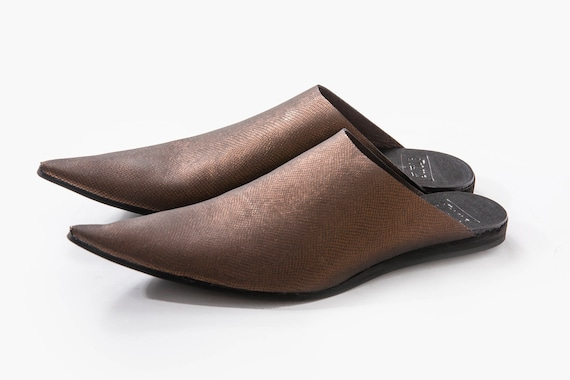 Summer Pointy Leather Sale Slide Shoes Leather Babouches Mules Toe Pointy Mules Shoes On Back Leather On Slip UnaUna Open Slip IwBrPaqpw