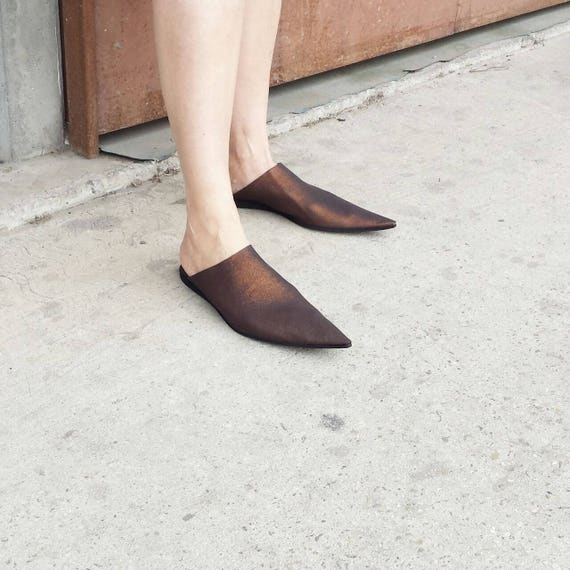 On Mules Babouches Summer Shoes Back Mules Toe Sale Slide Shoes Open On Pointy Slip UnaUna Leather Slip Pointy Leather Leather YfxqFStw