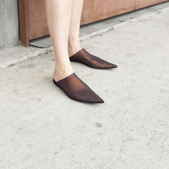 Mules Pointy Slip Leather Leather Slip Summer On Mules Leather Shoes Babouches On Toe Sale Pointy Slide UnaUna Back Open Shoes xtwXEOdd