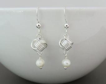 Love Knot Earrings, sterling silver love knot earrings, freshwater pearl earrings, small earrings, bridesmaids gift, wedding earrings, infin