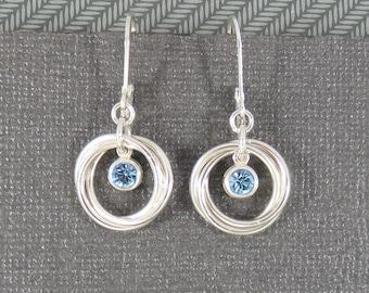 Birthstone Earrings Swarovski crystals, love knot earrings, leverback earrings, 3 ring earrings, three rings, sterling silver, 30th birthday