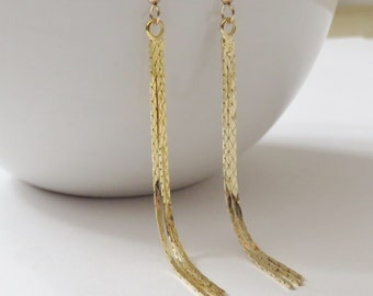 4a0d7a2ef Long Gold Tassel Earrings, graduated, 3 strand, tapered, gold filled ear  wire, snake chain, gift for girlfriend, long earrings, bright gold,