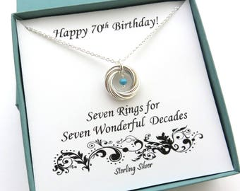 70th Birthday Birthstone Necklace Gift For Mom 7 Rings Decades Sterling Silver Gemstone Anniversary