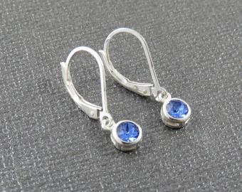 Tiny Birthstone Earrings, Swarovski crystal birthstone earrings, Tiny earrings, sterling silver earrings, leverback earrings, marciahdesigns