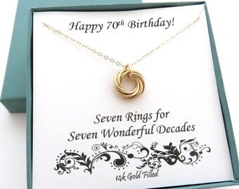 70th Birthday Gift, Gold Filled Necklace, 70th Birthday Gift for Women, 14k Gold Filled, 7 Gold Rings, 7th Anniversary Gift, Seven Rings,MHD