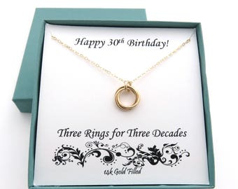 30th Birthday for Her, Gold Birthday Necklace, 30th Birthday Gift, 30th Birthday Necklace, Love knot necklace, Birthday Jewelry, Three Rings