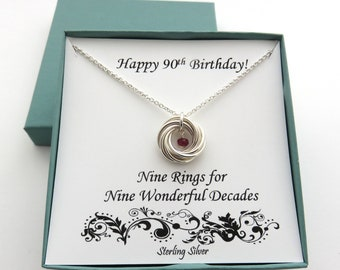 90th Birthday Sterling Silver Necklace Gift Birthstone For Grandma Mom MaricaHDesigns