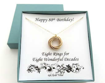 80th Birthday Gold Necklace Gift 8th Anniversary For Women 14k Filled MHD
