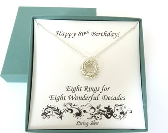 80th Birthday Gift Textured Silver Necklace Sterling Decade Gifts