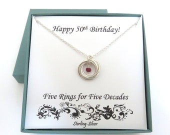 50th Birthday Gift For Women Birthstone Necklace Sterling Silver Gemstone 5th Anniversary