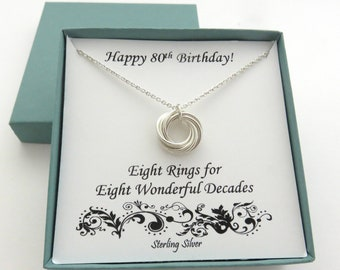 80th Birthday Gift Sterling Silver Necklace Eight Ring Jewelry 8th Anniversary Gifts