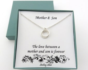 Mother Son Gifts, Mother Son Necklace, Mom Birthday Gift, Sterling Silver Necklace, Mom Son Gift, Birthday Gifts for Mom, MHD