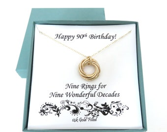 90th Birthday Gift Gold Filled Necklace For Women Gifts Mom Grandma 14k