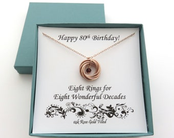 80th Birthday Gift For Women Rose Gold Necklace Birthstone Gifts MHD