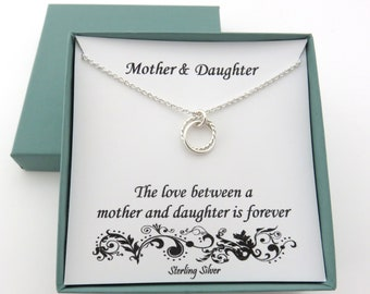Mother Daughter Necklace, Mother Daughter Gift, Mom Birthday Gift, Mom Daughter Necklace, Birthday Gifts for Mom, Sterling Silver Necklace