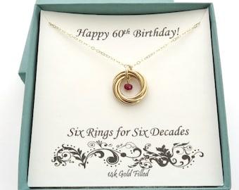 60th Birthday Gift Gold Necklace Birthstone 14k Anniversary Gifts