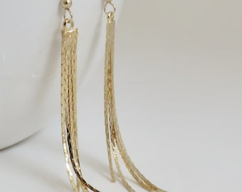 277a262ec Long Gold Tassel Earrings, graduated, 5 strand, tapered, gold filled ear  wire, snake chain, gift for girlfriend, long earrings, bright gold