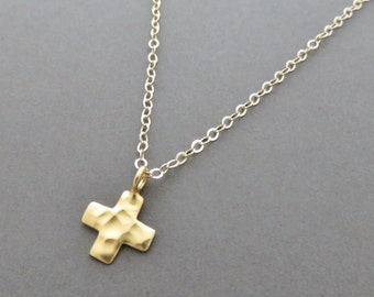 57931115b0 Gold Cross Necklace, small gold cross, tiny gold cross, hammered gold cross,  marciahdesigns, mhd, layering necklace, gold, 14k gold filled