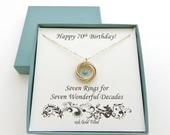 70th Birthday Gift Gold Birthstone Necklace For Women Decade 7 Rings 7th Anniversary Seven MHD