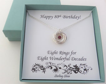 80th Birthday Gift for Women, Birthstone Necklace, Sterling Silver, Swarovski Birthstone, 8 rings, 8 circles, 8th anniv, Milestone Jewelery