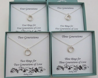 Generation Necklace, Two Generations, Three Generations, Four Generations, Five Generations, sterling silver, 2 rings, 3 rings, 4 circles