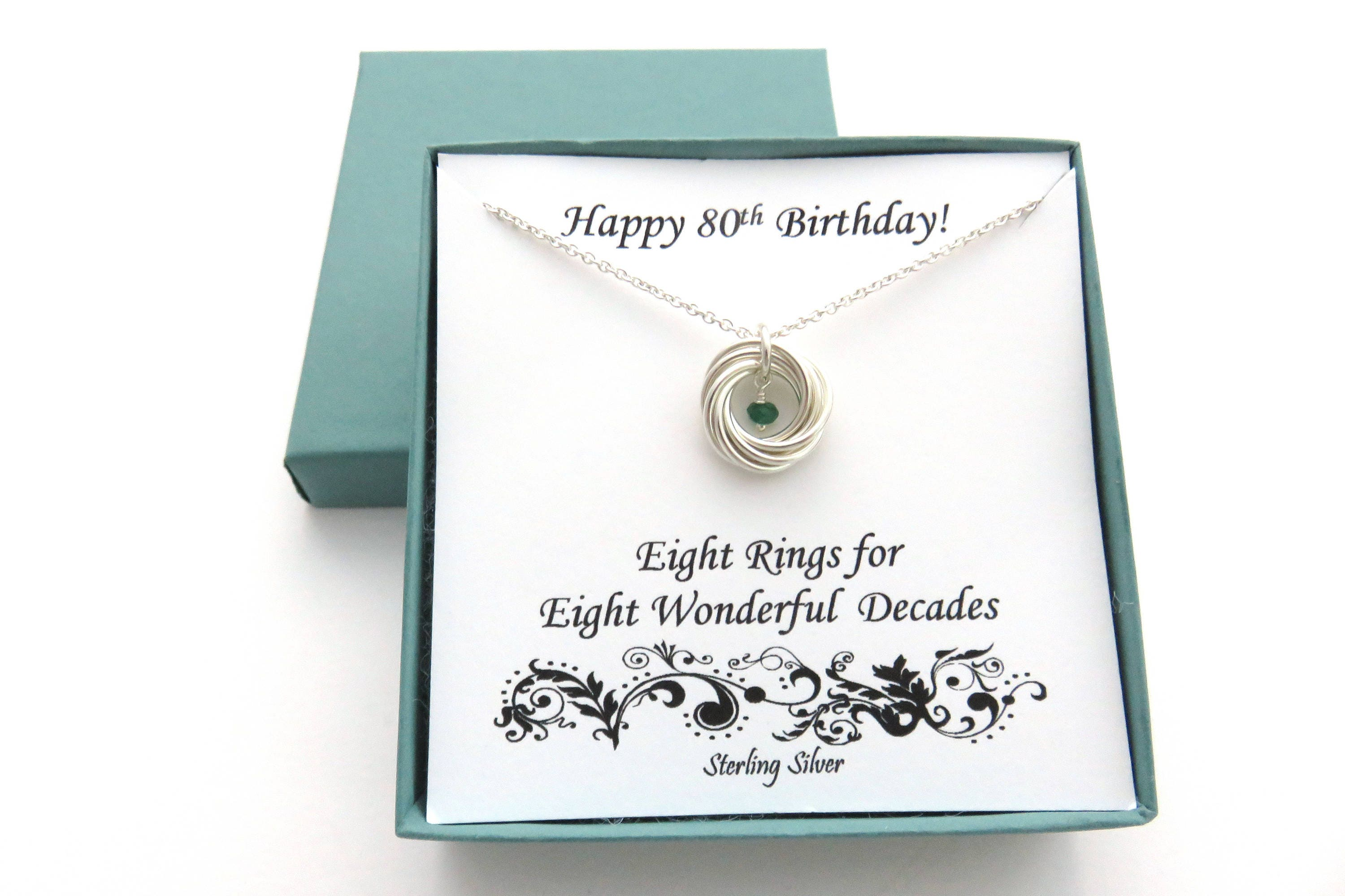 80th Birthday Gift Sterling Silver Birthstone Necklace
