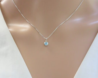 Birthstone Necklace, Tiny Swarovski crystal birthstone, dainty, sterling silver, young girl jewelry, gift for mom birthday, gift for grandma