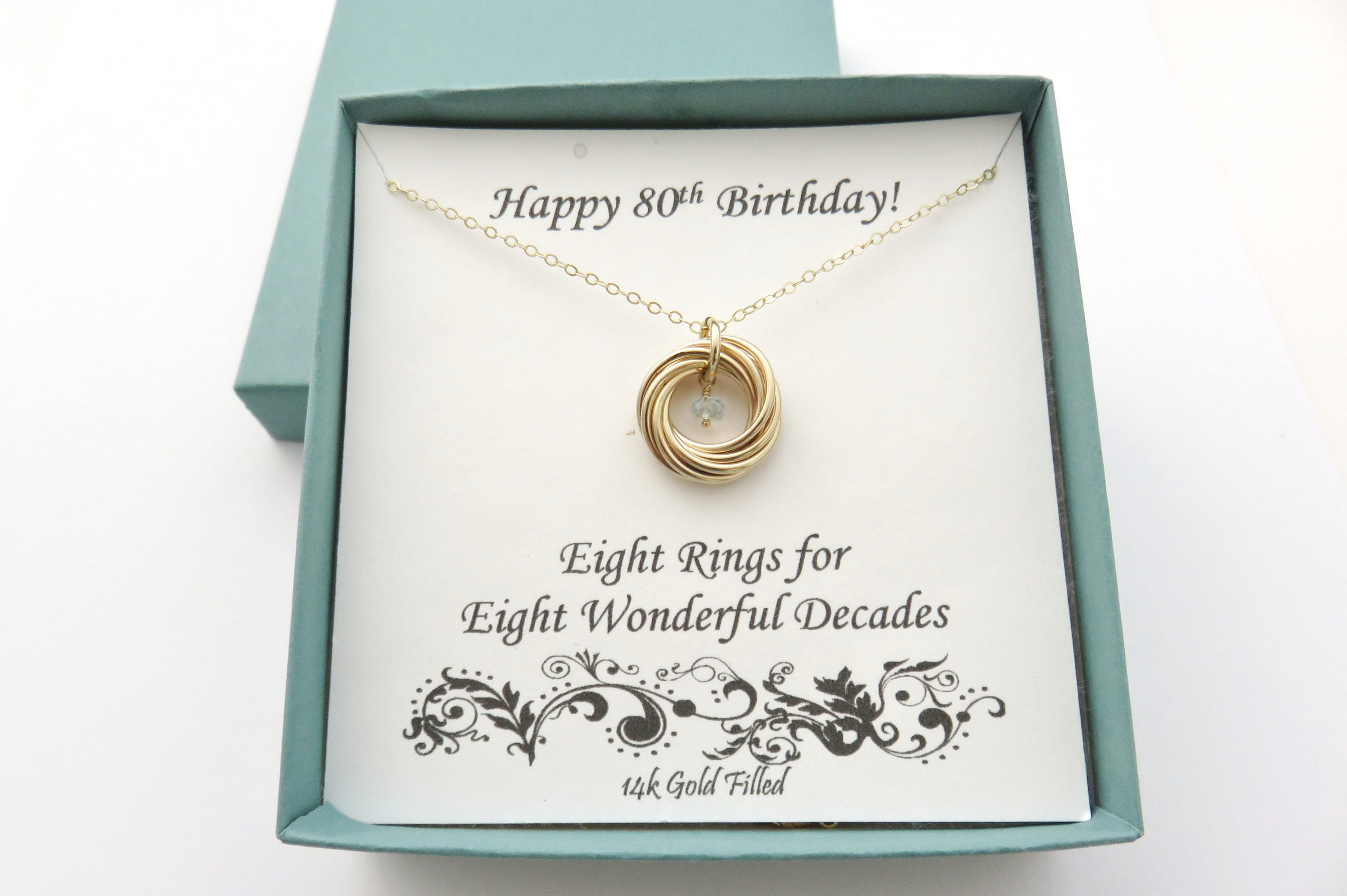 11827d345b32d 80th Birthday Gift for Women, Gold Filled Necklace, 80th Birthday Gift,  Birthstone Necklace, 8th Anniversary, Birthday Gifts