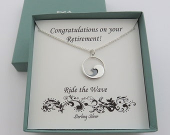 Retirement Gifts for Women, beach lover gift, wave necklace, surfer necklace, sterling silver, ride the wave, swimmer, ocean wave necklace