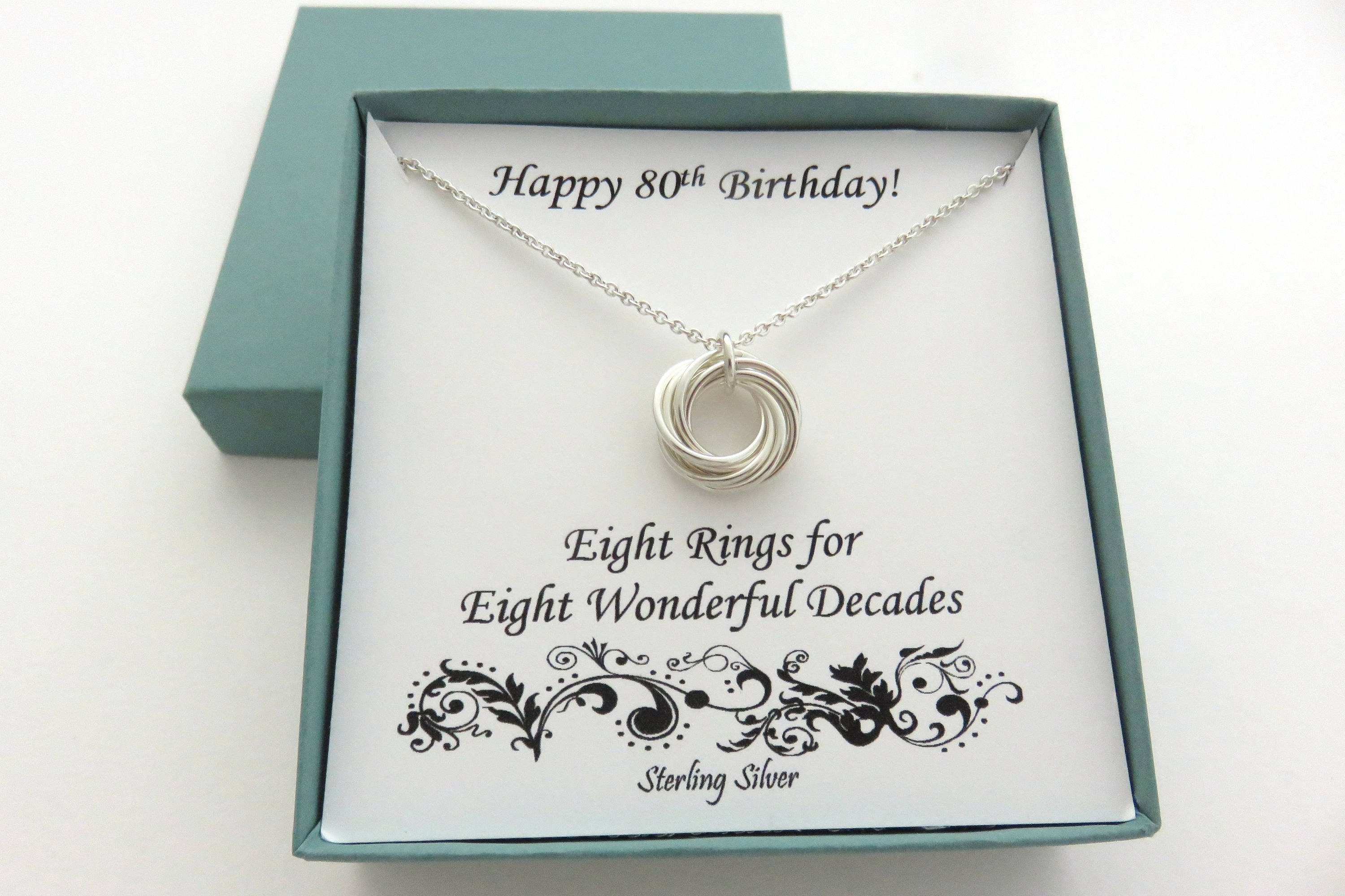 923890474e892 80th Birthday Gift, Sterling Silver Necklace, 80th Birthday, Eight Ring  Necklace, Birthday Jewelry, 8th Anniversary, Birthday Gifts