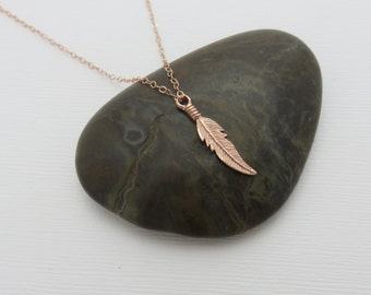 Rose gold feather necklace, feather necklace, rose gold jewelry, dainty feather, 14k rose gold filled, modern, minimalist, marciahdesigns
