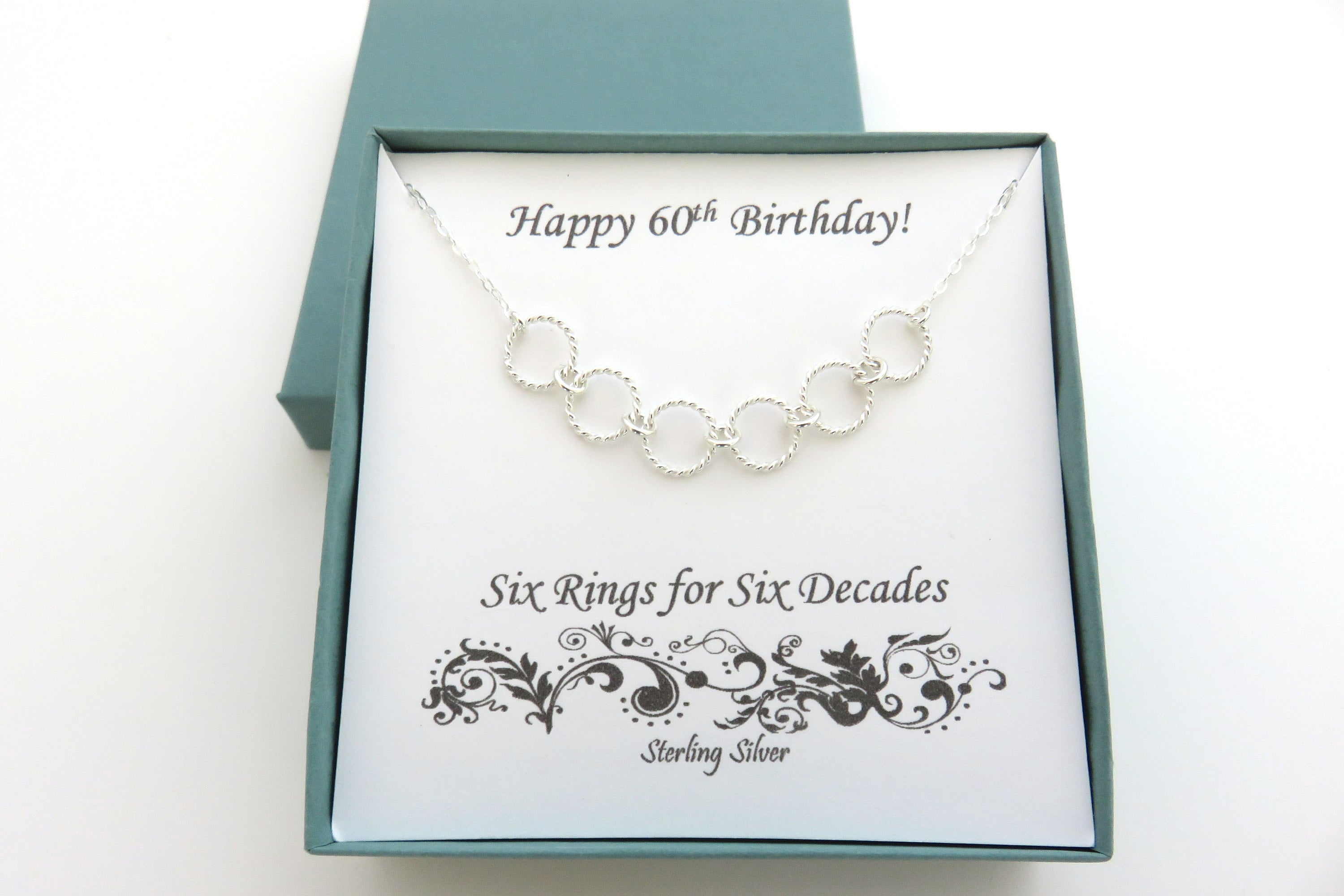 60th Birthday Gifts for Women Six Rings Necklace 60th  2595ffff1f96