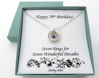 70th Birthday Gift Woman, Birthstone Necklace, Swarovski Birthstone necklace, 7 rings, 7 circles, 7th Anniversary, sterling silver, 70 year
