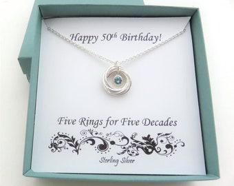 50th Birthday Gift for Women, Birthstone Necklace, Swarovski Crystal, 50th Birthday Gift, Sterling Silver Necklace, 50th Birthday