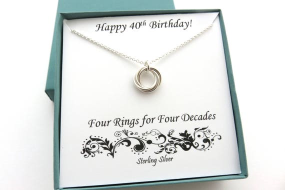 40th Birthday Gifts For Women Sterling Silver Necklace
