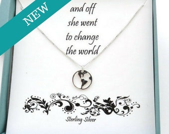 Graduation Gift for Her, And Off She Went, Graduation Gift, World Necklace, Travel Necklace, Sterling Silver Necklace, Earth Jewelry, Globe