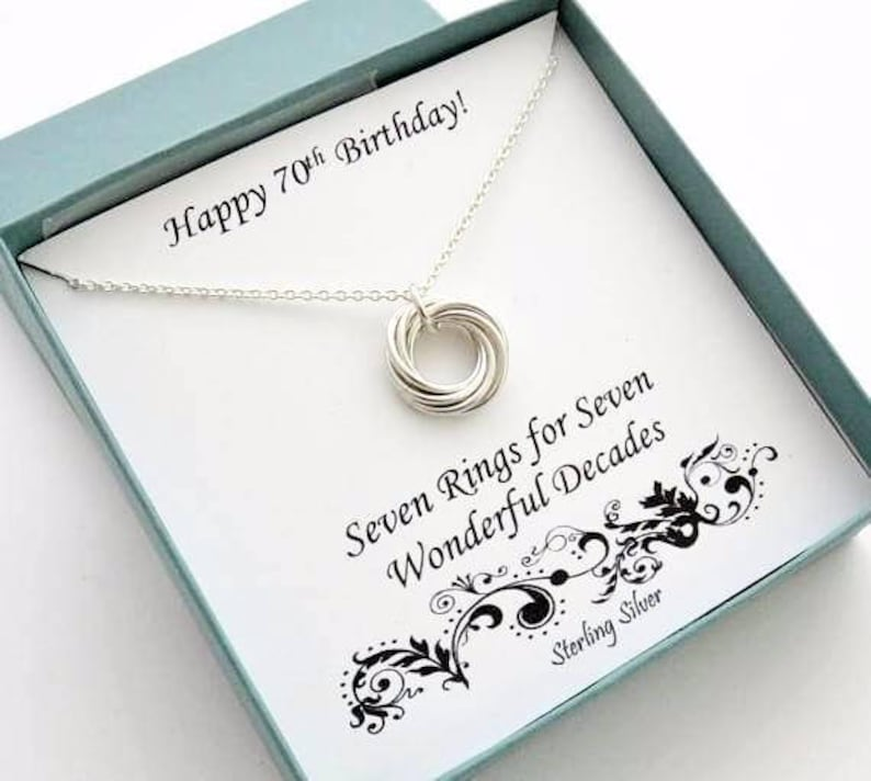 70th Birthday Gift For Mom Anniversary 7th Sterling Silver Necklace Jewelry MHD