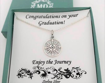 Graduation Gift for Her, sterling silver, high school graduaton gift, college graduation gift, compass necklace,large compass,silver compass