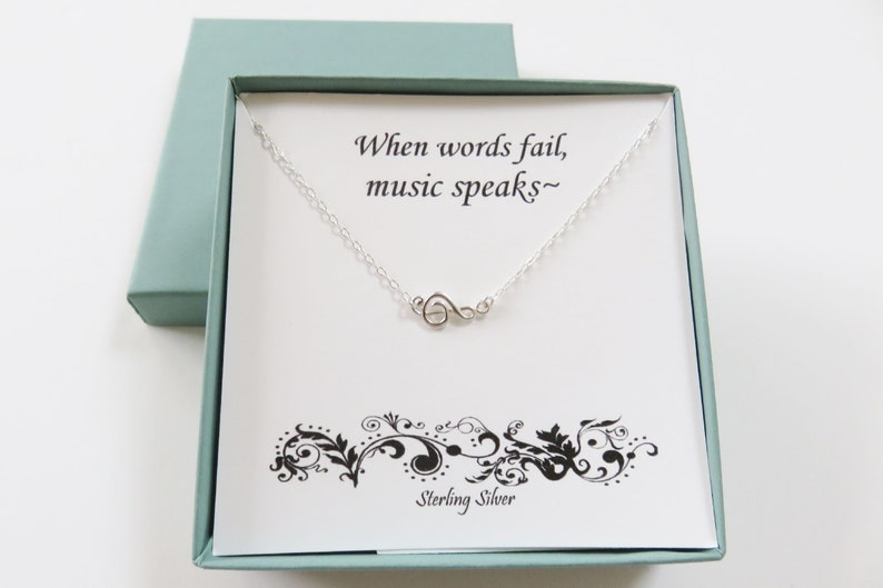 Music Necklace Sterling Silver Music Necklace Treble Clef image 0