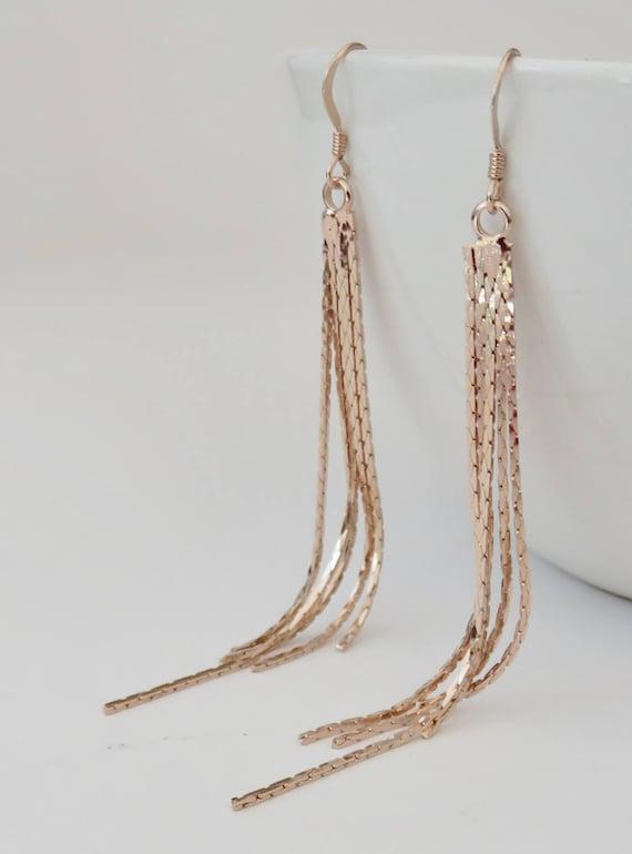 Rose Gold Tassel Earrings Tassel Earrings Fringe Earrings Etsy