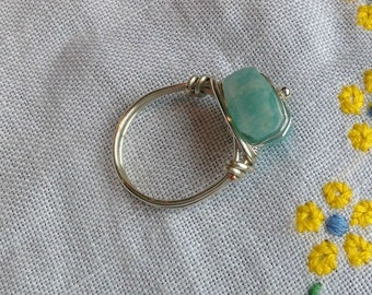 Amazonite Silver-plated Ring size 7.5