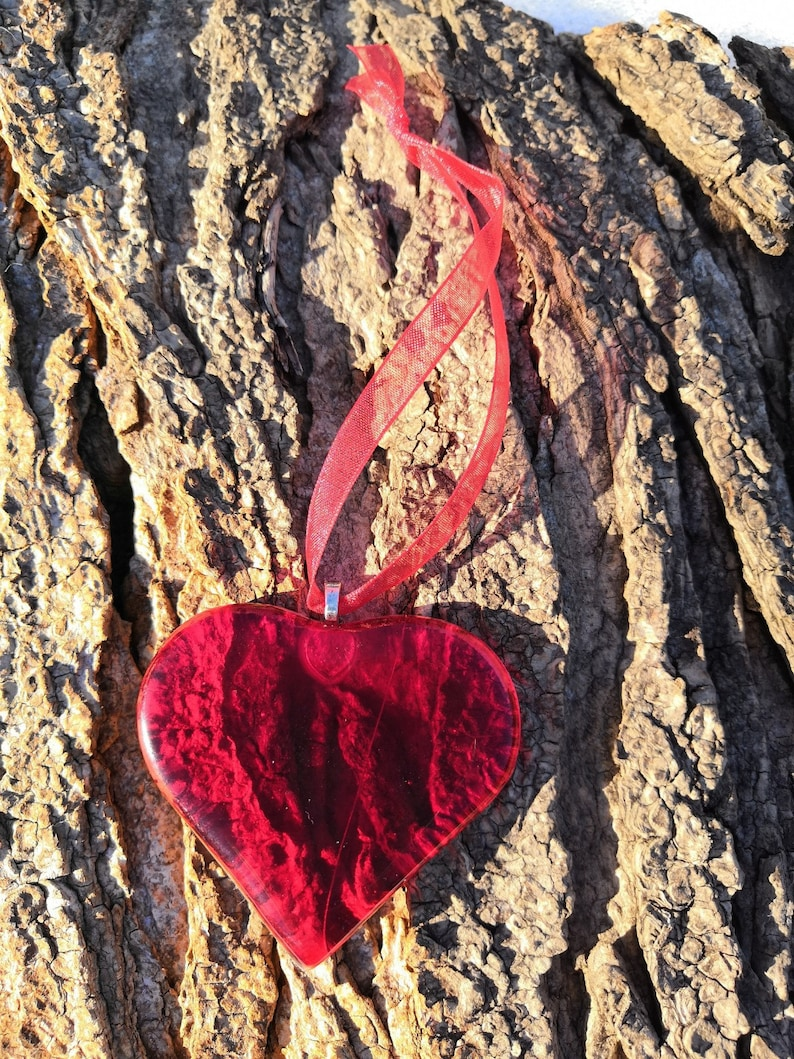 Fused Glass Red Rustic Love Heart Valentines Decoration