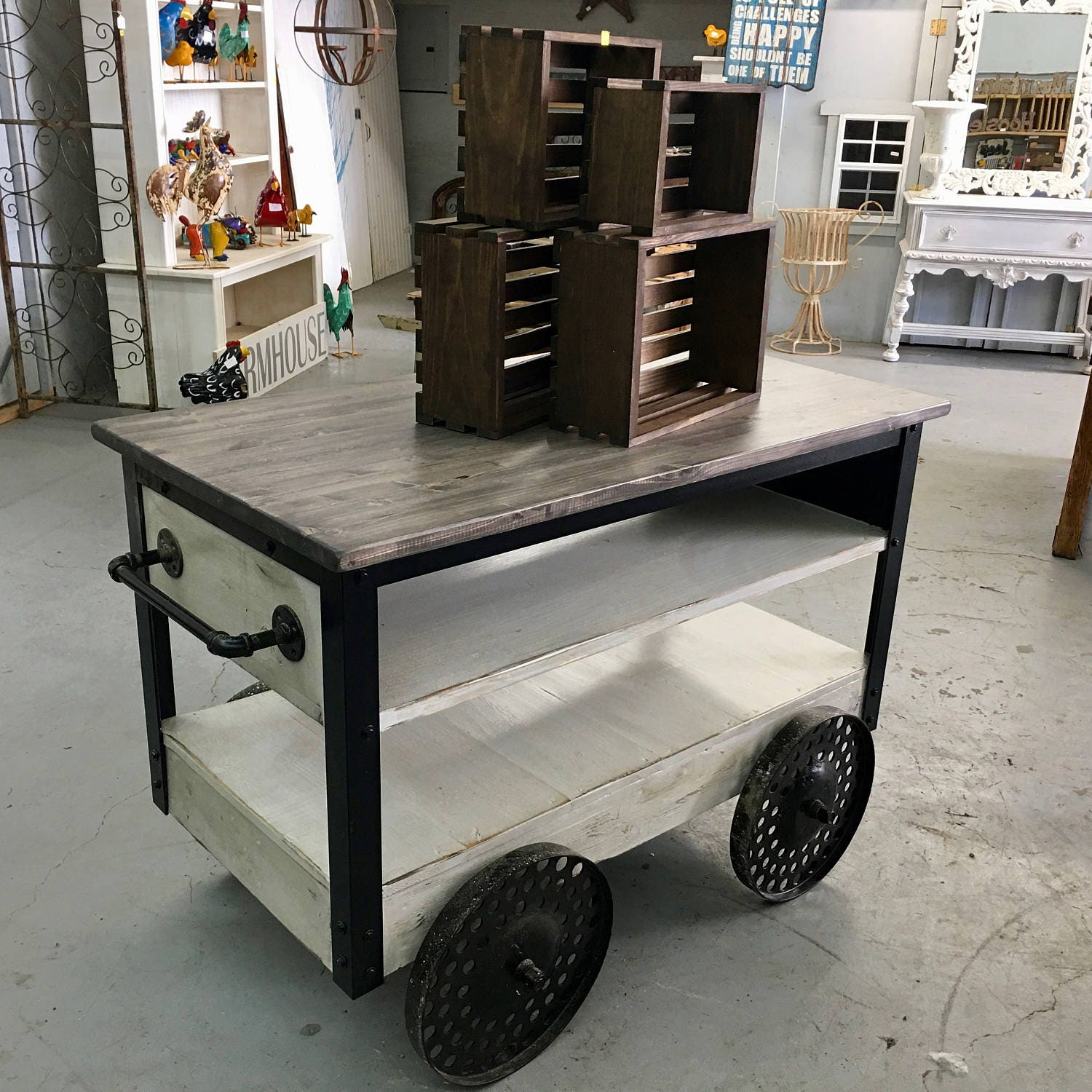 Industrial Kitchen Trolley: Urban Industrial Kitchen Island Cart