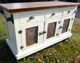 Beautiful Industrial Farmhouse, Solid wood, Antique White and Aged Nickel Kitchen Island